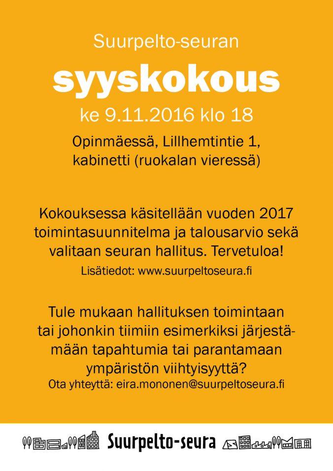 Suurpelto-seuran syyskokous 9.11.2016 Mainos