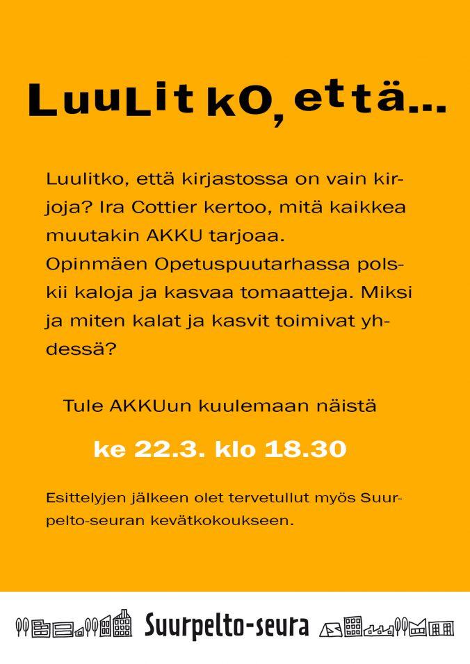 Suurpelto-seura kevätkokous 22.3.2017
