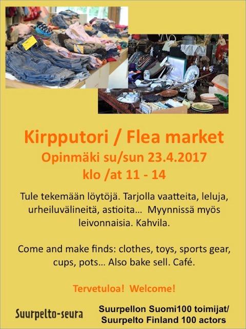 Kirpputori Opinmäessä 23.4.2017 Flea market Suurpelto