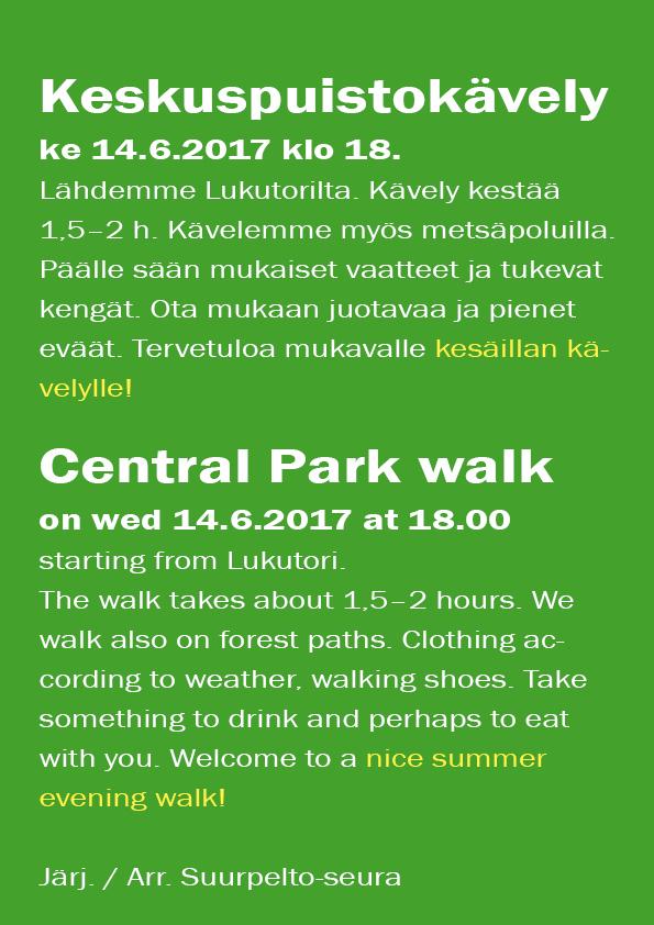 Suurpeltolaiset kutsutaan kävelylle keskuspuistoon