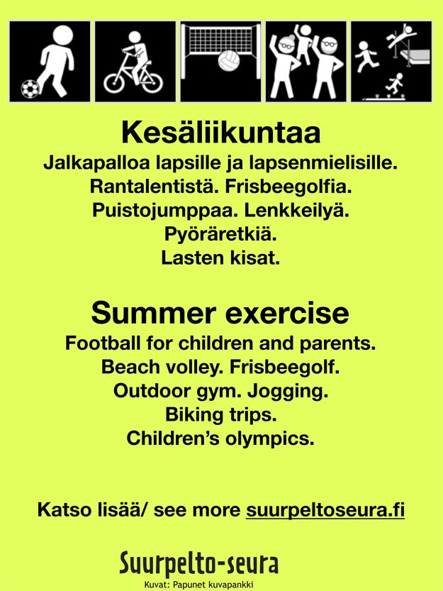 Liikuntaa Suurpellossa kesällä 2018