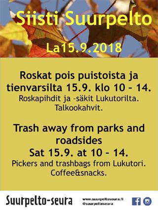 roskatakoot suurpellossa 15.9.2018 klo 10-14