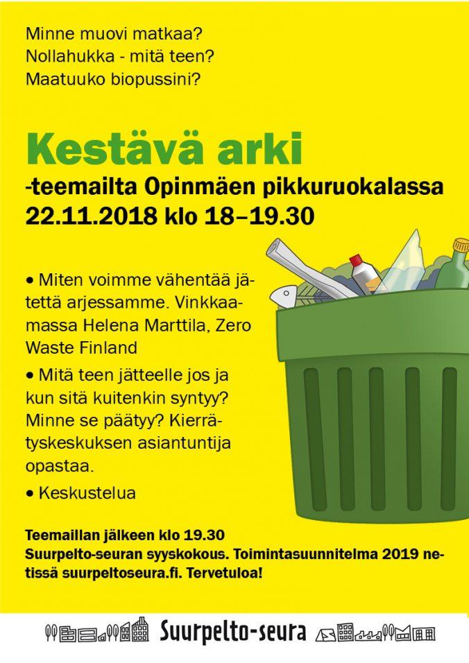 Suurpellon asukasilta teemana Kestävä kehitys ja jätteen vähentäminen arjessa
