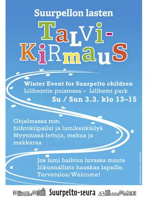 Suurpellon lasten talvikirmaus 2019 su 3.3. klo 13-15 Lillhemtin puistossa