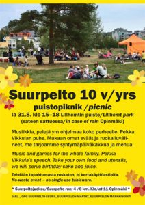 Suurpelto-seura: Suurpelto 10 v juhlapiknik Lillhemtin puistossa la 31.8.2019 klo 15-18 - Suurpelto 10 yrs anniversary picnic