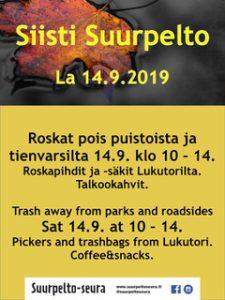 Suurpellon roskatalkoot la 14.9.2019 klo 10-14. Let's pick trash together