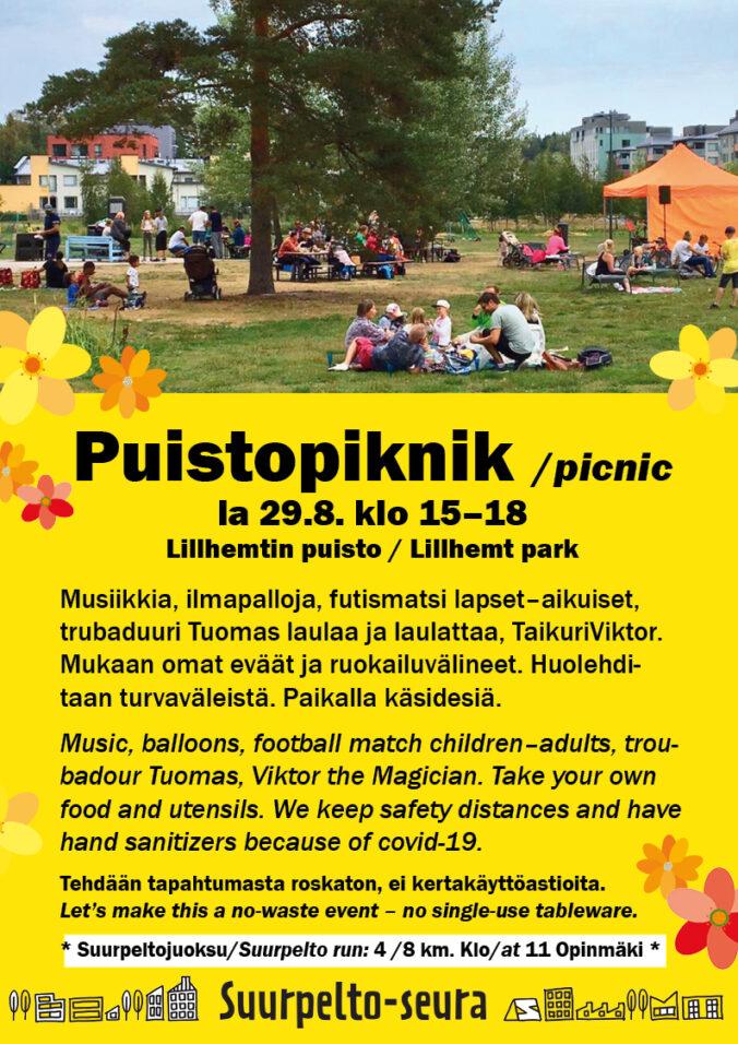 Suurpelto-piknik Espoo-päivänä 29.8.2020