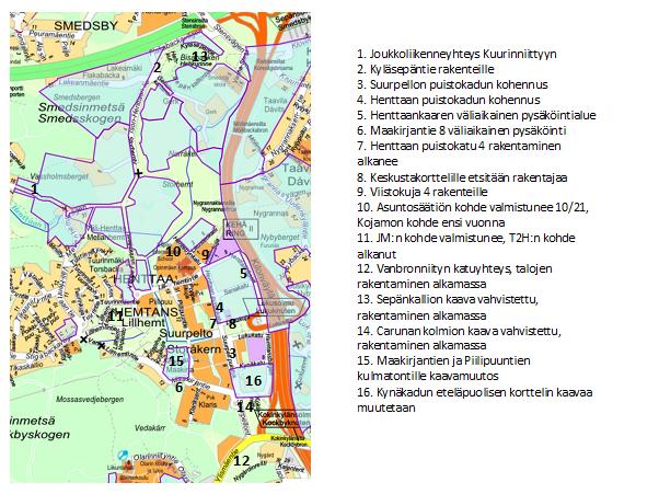Kartta Suurpellon tie- ja rakennusasioista maaliskuussa 2021