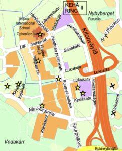 Kartta paikoista joissa Suurpelto-seura ilmoittaa tapahtumistaan